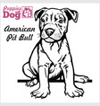 american pit bull puppy sitting drawing hand