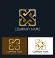 arrow square gold company logo vector image vector image
