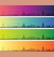 barcelona multiple color gradient skyline banner vector image