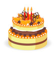 birthday cake with fresh red berries strawberries vector image vector image