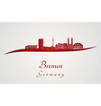 Bremen skyline in red vector image vector image