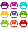 briefcase icon set color hexahedron vector image vector image