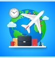 business travel concept flying plane on earth vector image