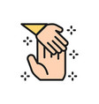 child hand holds palm man donation to children vector image vector image