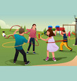 children playing hula hoop vector image vector image