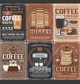coffee cups pot espresso machine roasted beans vector image