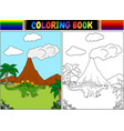 coloring book with cartoon stegosaurus vector image vector image