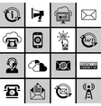 Contact Us Icons Set Black and White vector image vector image