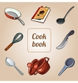 cookbook set eight icons dishes vector image vector image