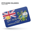 Credit card with Pitcairn Islands flag background vector image vector image