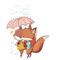 cute fox with duck vector image