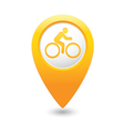 cyclist symbol map pointer yellow vector image vector image