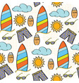 doodle cartoon seamless pattern summer holiday vector image