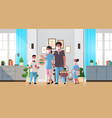 family holding baskets with eggs celebrating happy vector image vector image