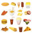 fast food hamburger or cheeseburger with vector image
