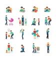 Fatherhood Flat Icons vector image