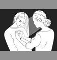 female character looking inside another woman vector image