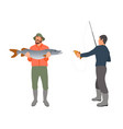 fisherman with fishing rod and fish sketch vector image