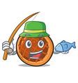fishing baket pie mascot cartoon vector image vector image