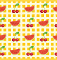 fruit seamless pattern with watermelon and cherry vector image vector image