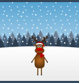 funny cartoon christmas reindeer in the forest vector image
