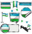 glossy icons with flag of uzbekistan vector image vector image