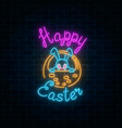 glowing neon sign of easter bunny in basket with vector image vector image
