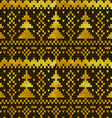 Golden seamless knitted pattern with Christmas vector image