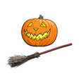 hand drawn halloween symbols - pumpkin lantern and vector image vector image