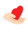 Hand holding heart icon isometric 3d style vector image vector image