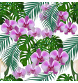 jungle green tropical leaves orchid flowers and vector image vector image