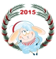 Lamb and Christmas wreath Symbol 2015 vector image vector image