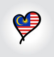 malaysian flag heart-shaped hand drawn logo vector image