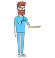 male doctor cartoon vector image vector image