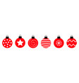 merry christmas ball set line cute round red vector image vector image