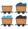 mining carts loaded with stones and diamond vector image vector image