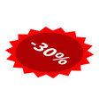 minus 30 percent sale red icon isometric style vector image vector image