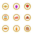 november holiday icons set cartoon style vector image