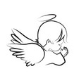 praying angel child believe icon vector image vector image
