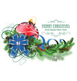 red christmas ball with blue bow and fir branches vector image
