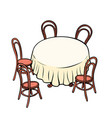 round dining table and chairs around vector image vector image