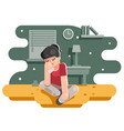 sad suffer girl female cry tears flat design vector image
