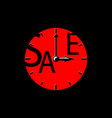 sale inscription with red clocks sales event vector image vector image