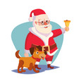 santa claus and happy dog ringing gold vector image vector image