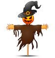 scarecrow cartoon with pumpkin head vector image