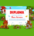 school diploma template with fantasy buildings vector image vector image