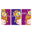set of cards for girls vector image