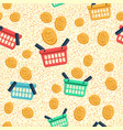 shopping basket and coin flat icons vector image vector image