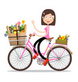 smiling waving woman on pink bicycle with spring vector image vector image