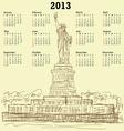 statue liberty vintage 2013 calendar vector image vector image